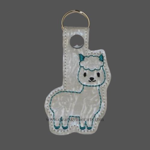 alpaca key fob/ring in teal color