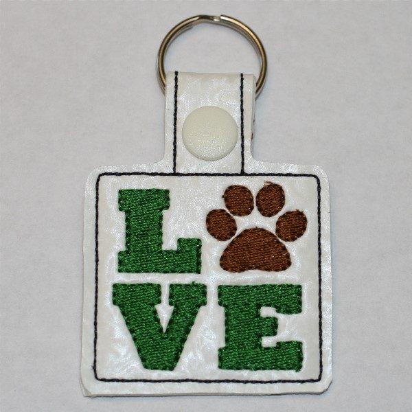 love paw key ring - green love brown paw