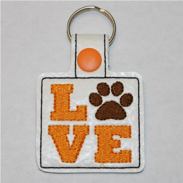 love paw key ring - mango love with brown paw