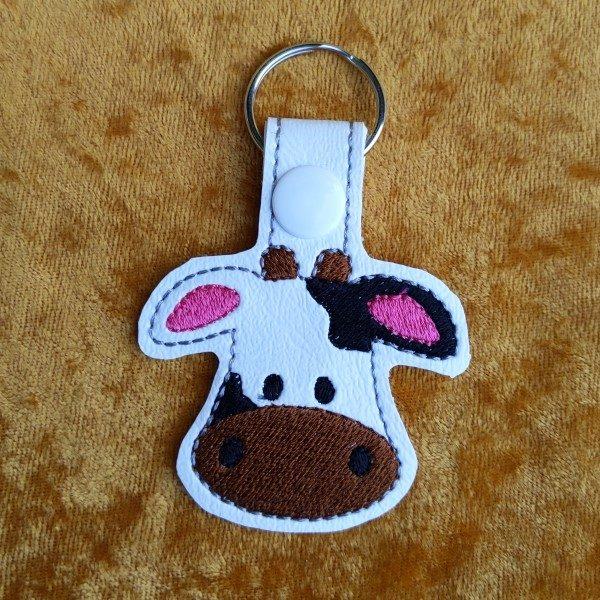 cute cow face key ring