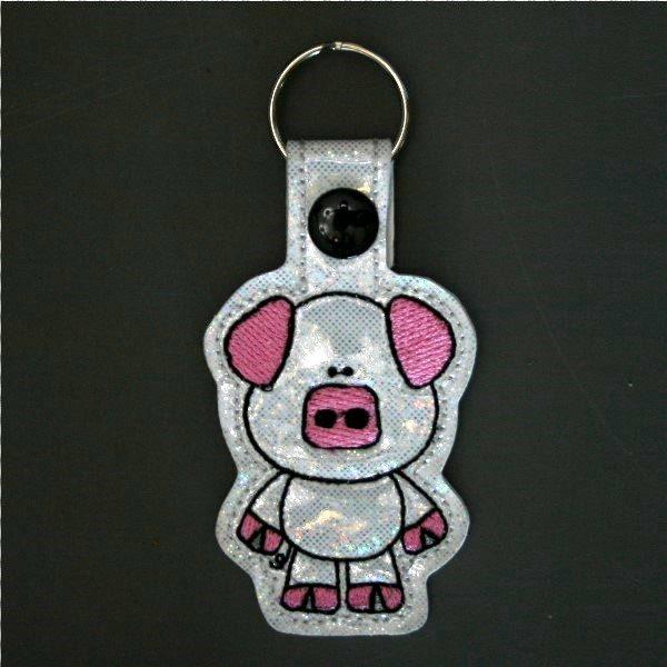 little pig key ring on sparkle vinyl