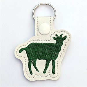 cute goat key ring - goat in green color