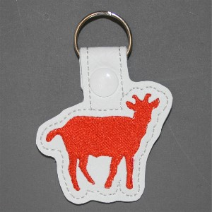 cute goat key ring - goat is orange color