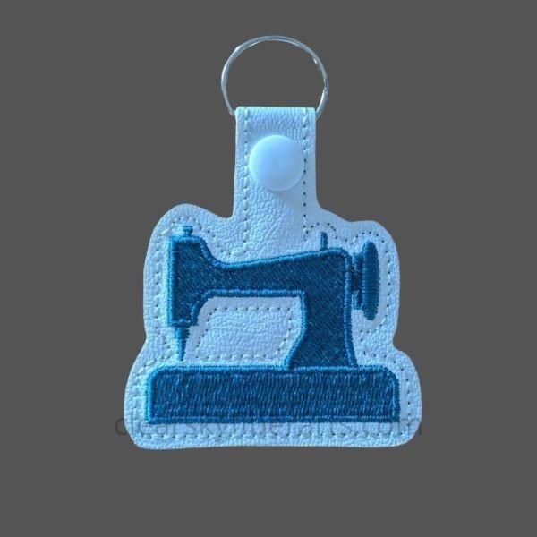 sewing machine key ring - blue