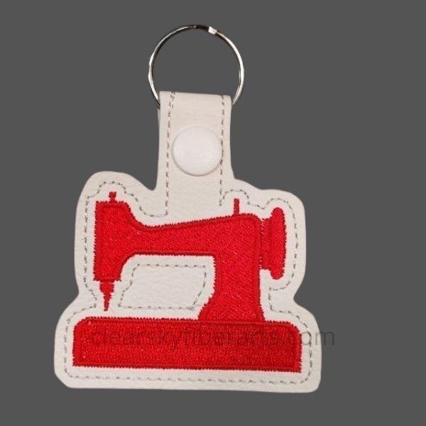 sewing machine key ring - red