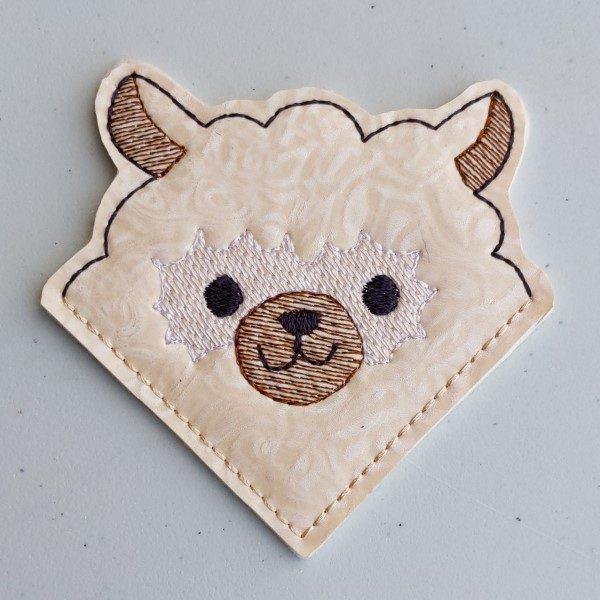 cute vinyl alpaca corner bookmark - white face