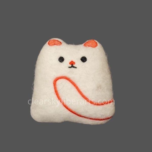 felted kitty - orange embroidery on white felt