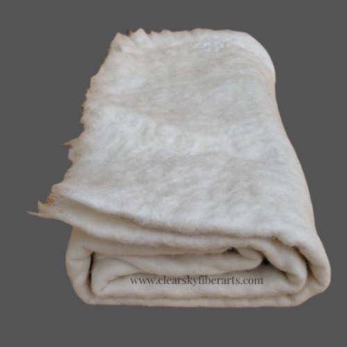 white alpaca fiber felt crafting sheet