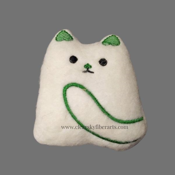 felted kitty - green embroidery on white felt