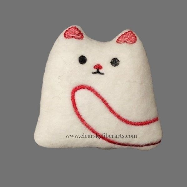 felted kitty - red embroidery on white felt