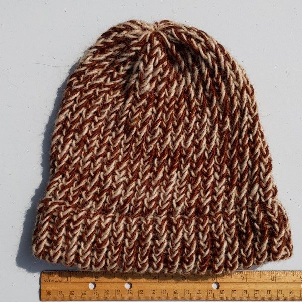 variegated brown merino wool hat - woman size
