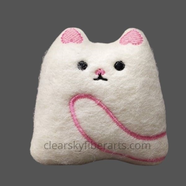 felted kitty - pink embroidery on white felt