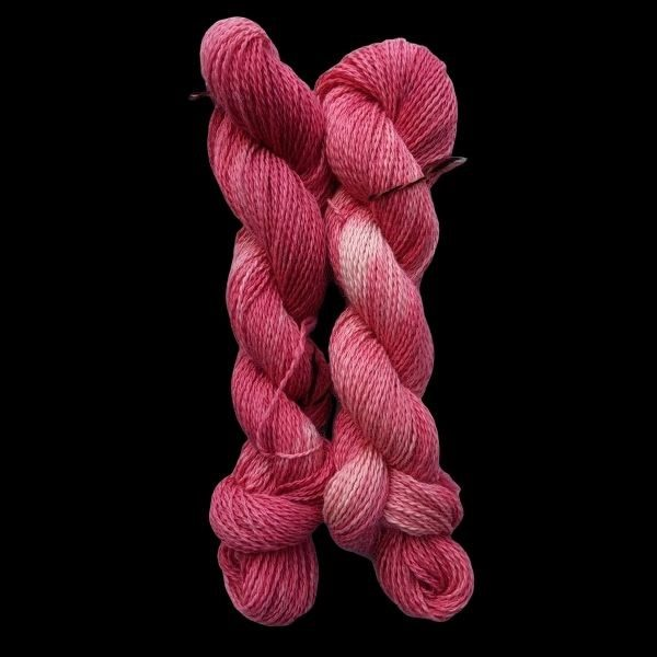 hand dyed alpaca yarn from Placids fleece - pinks and reds