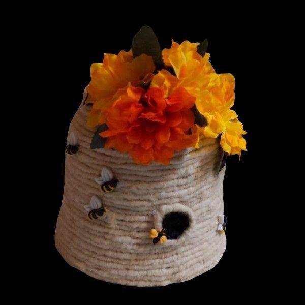 alpaca fiber wrapped beehive