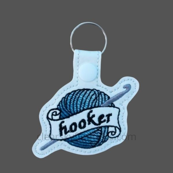 hooker key ring - blue