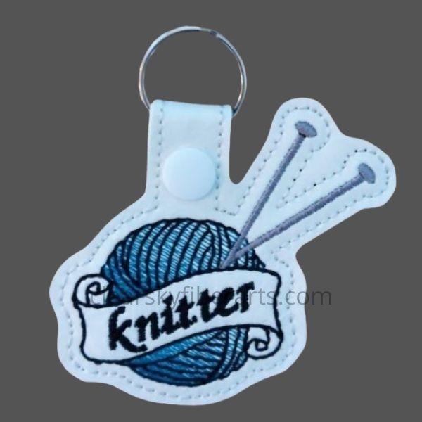knitter key ring - blue
