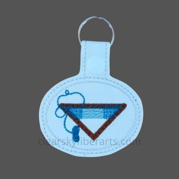 tri loom key fob in blue