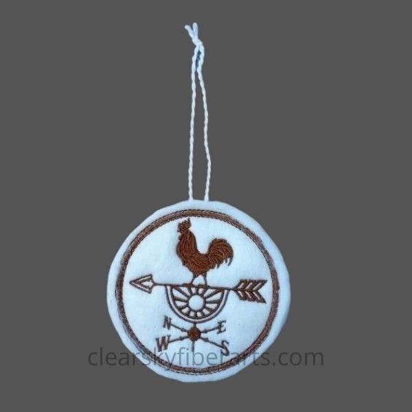 rise and shine rooster - embroidered with brown on white alpaca fiber felt