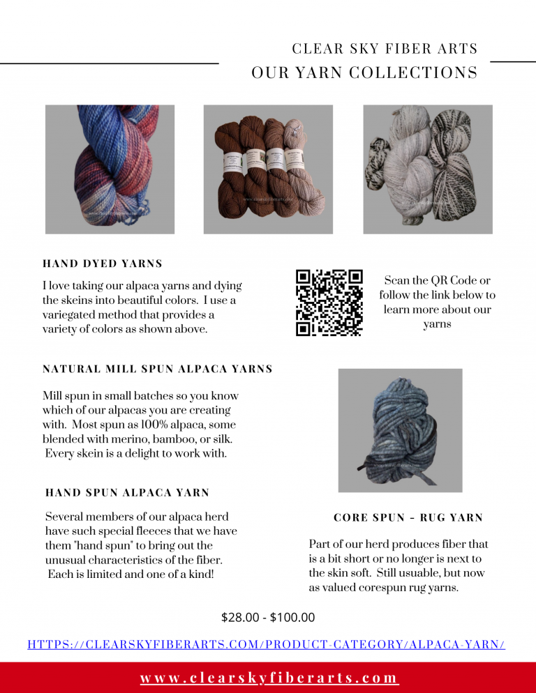 description of our yarn products made with our alpcaca fiber