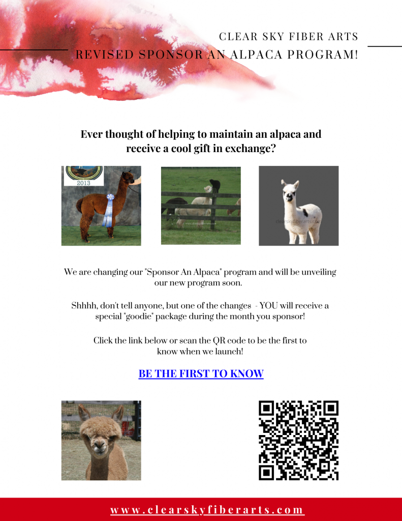 our new sponsor and alpaca program coming soon