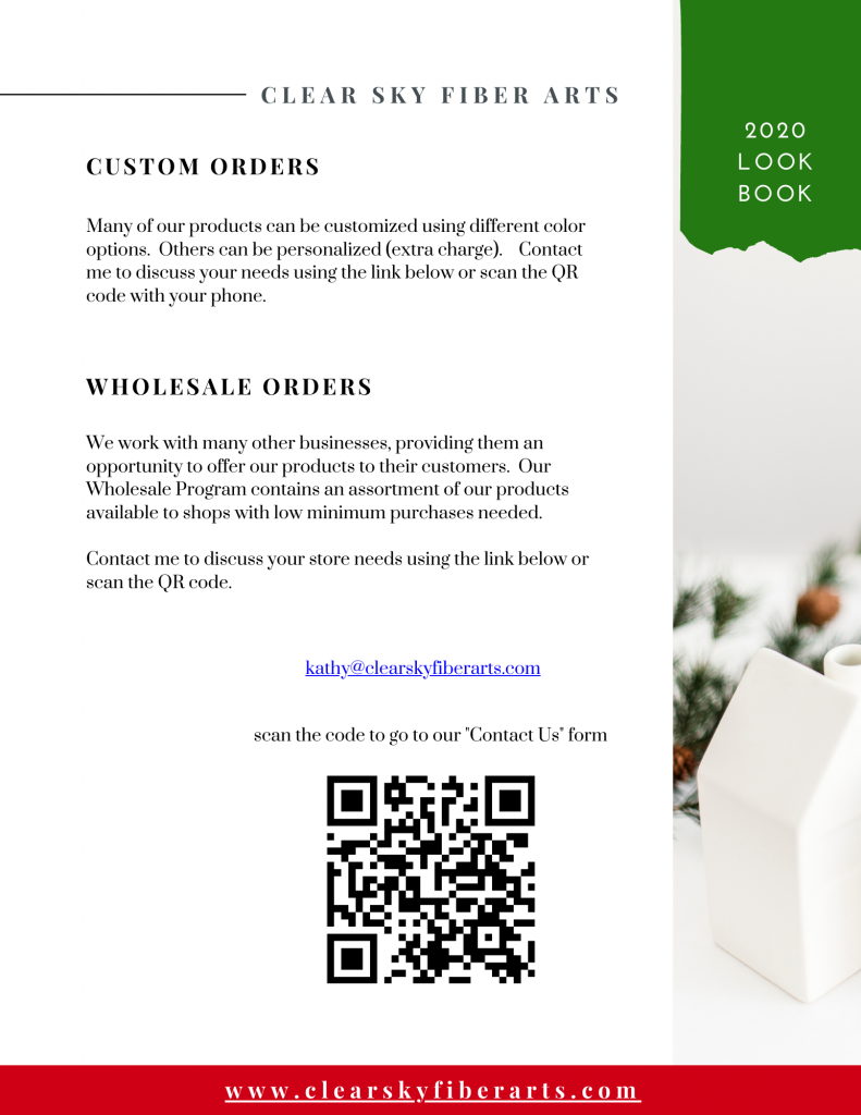 custom and wholesale order information