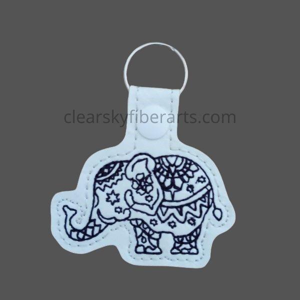 elephant mandala key ring/fob - black