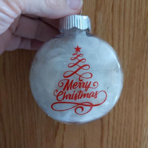 alpaca fiber filled ornament with swirly Merry Christmas tree sediment