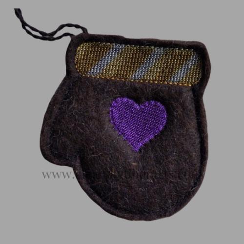 black alpaca fiber felted mitten gift card holder