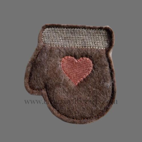 brown alpaca fiber felted mitten gift card holder