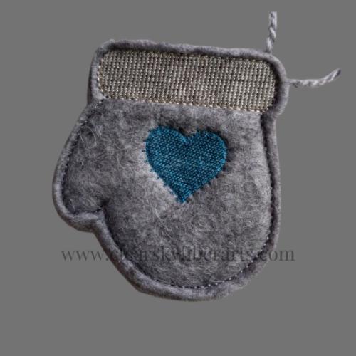 gray alpaca fiber felted mitten gift card holder