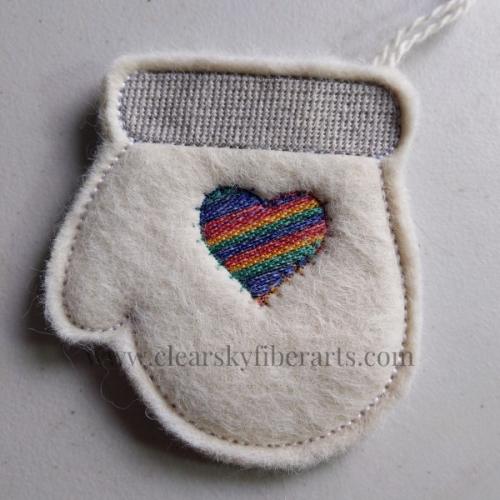alpaca fiber mitten gift card holder with rainbow heart