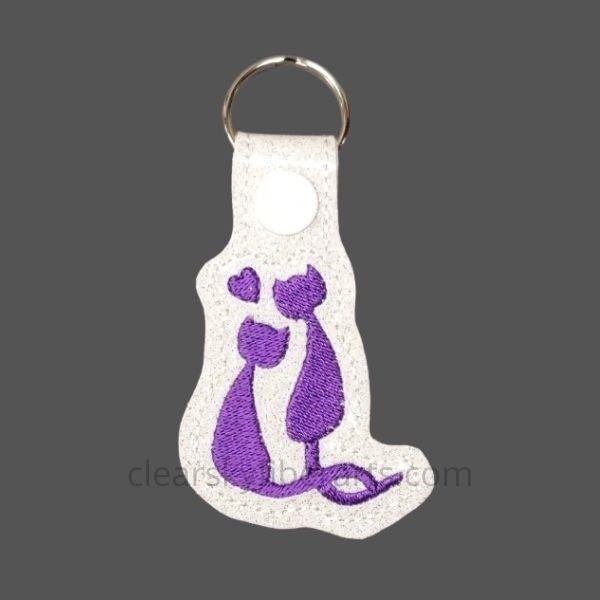 love cats key ring - purple