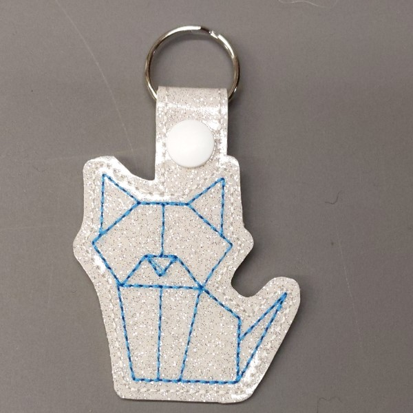 origami kitty key ring - teal